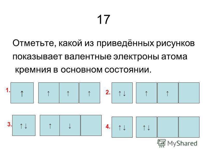 17 Отметьте, какой из приведённых рисунков показывает валентные электроны атома кремния в основном состоянии. 1. 3. 2. 4.