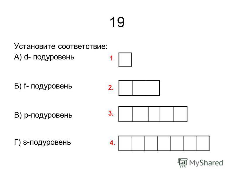 19 Установите соответствие: А) d- подуровень Б) f- подуровень В) p-подуровень Г) s-подуровень 1.1. 2. 3. 4.