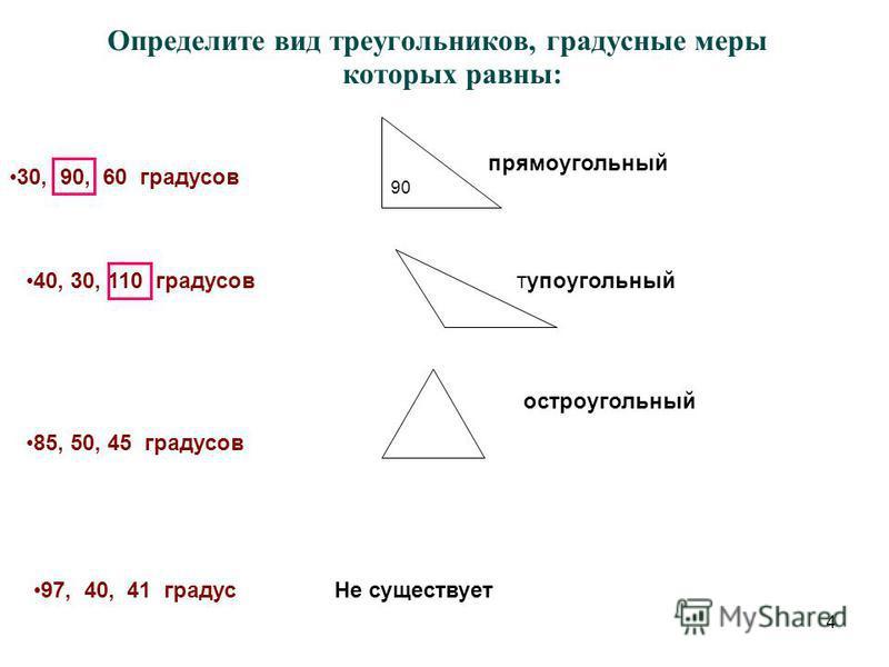 4 Определите вид треугольников, градусные меры которых равны: 30, 90, 60 градусов 40, 30, 110 градусов 85, 50, 45 градусов 97, 40, 41 градус прямоугольный 90 тупоугольный остроугольный Не существует