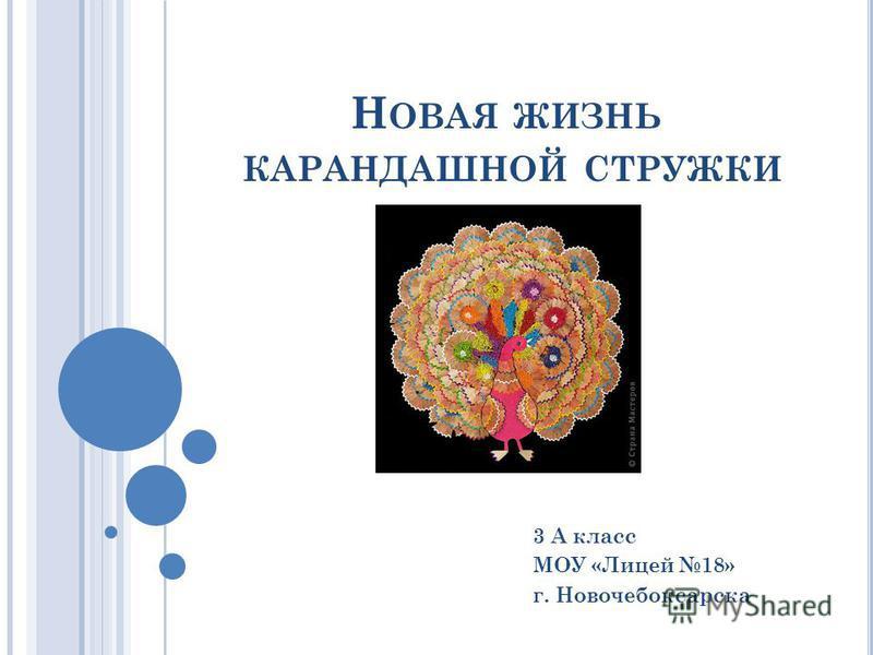 Н ОВАЯ ЖИЗНЬ КАРАНДАШНОЙ СТРУЖКИ 3 А класс МОУ «Лицей 18» г. Новочебоксарска
