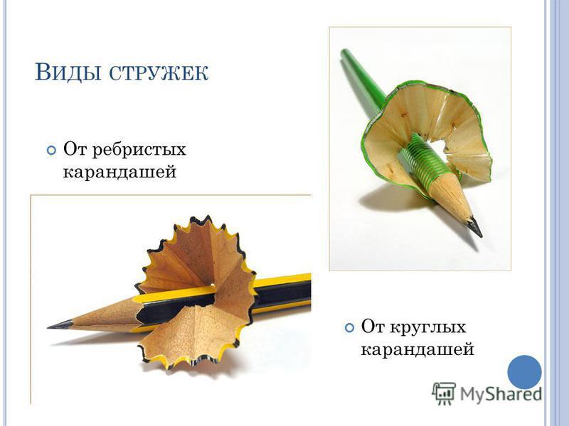 В ИДЫ СТРУЖЕК От ребристых карандашей От круглых карандашей