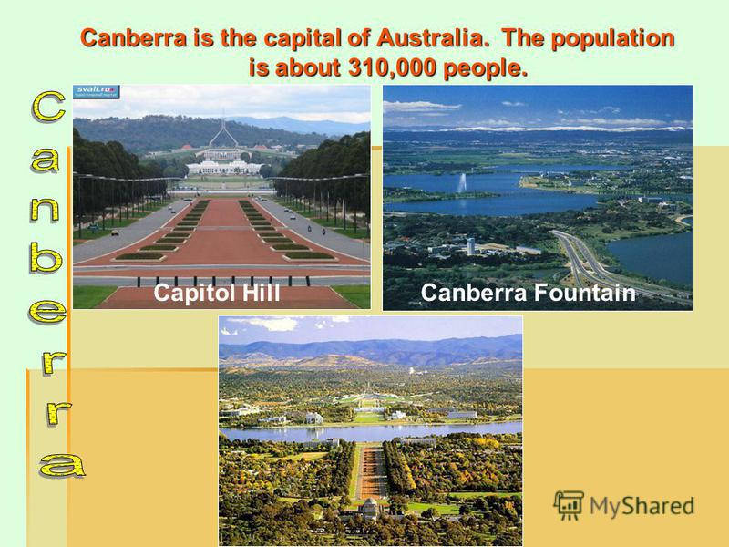 Canberra is the capital of Australia. The population is about 310,000 people. Capitol HillCanberra Fountain