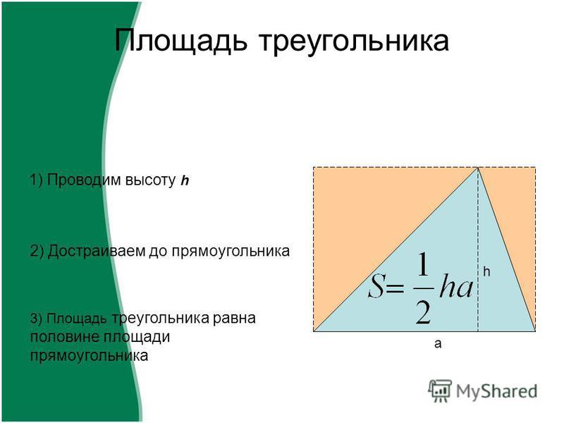 Площадь треугольника 1) Проводим высоту h 2) Достраиваем до прямоугольника 3) Площадь треугольника равна половине площади прямоугольника h a