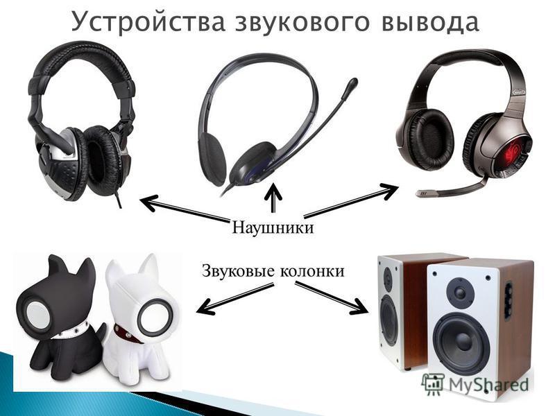 Устройства звукового вывода Наушники Звуковые колонки