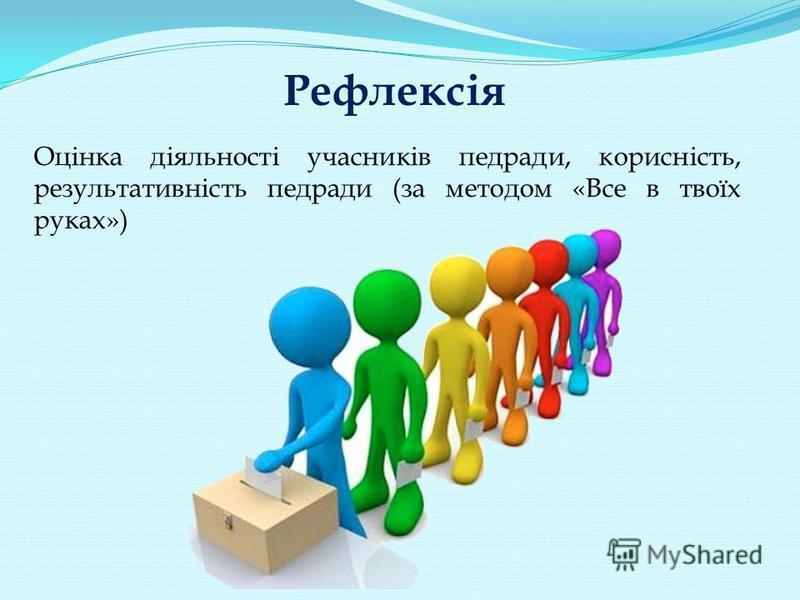 Рефлексія Оцінка діяльності учасників педради, корисність, результативність педради (за методом «Все в твоїх руках»)