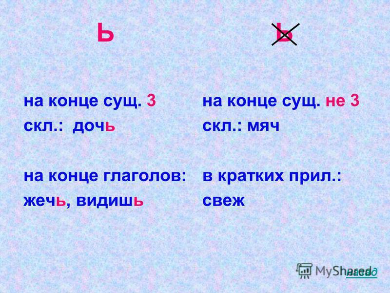 Ь на конце сущ. 3 скл.: дочь на конце глаголов: жечь, видишь Ь на конце сущ. не 3 скл.: мяч в кратких прил.: свеж назад