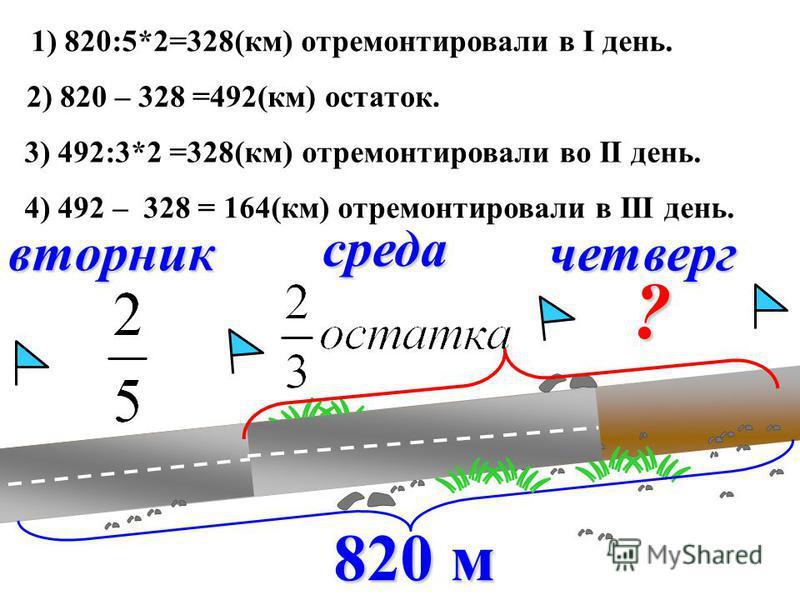 вторник среда четверг ? 1) 820:5*2=328(км) отремонтировали в I день. 2) 820 – 328 =492(км) остаток. 3) 492:3*2 =328(км) отремонтировали во II день. 4) 492 – 328 = 164(км) отремонтировали в III день.