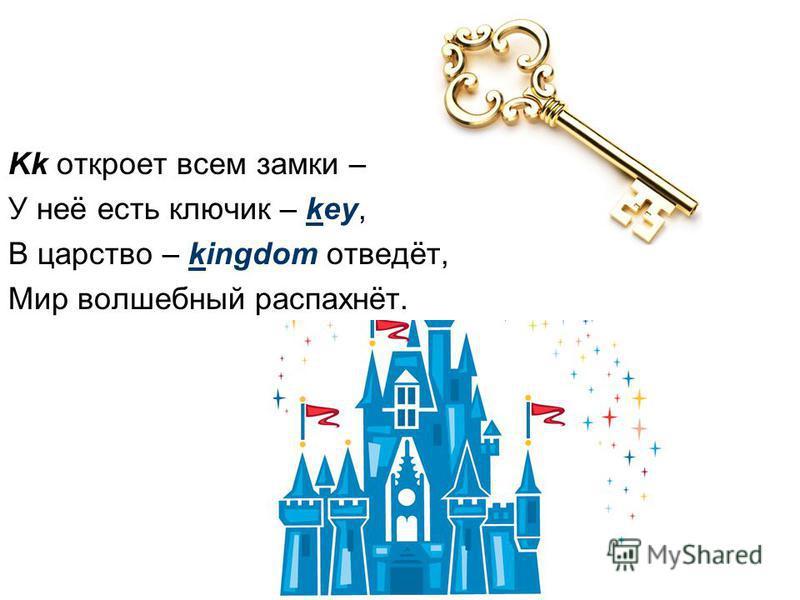 Kk откроет всем замки – У неё есть ключик – key, В царство – kingdom отведёт, Мир волшебный распахнёт.