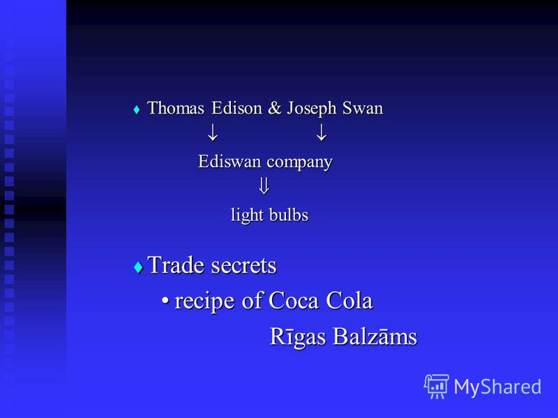 Thomas Thomas Edison & Joseph Swan Ediswan company light bulbs Trade Trade secrets reciperecipe of Coca Cola Rīgas Balzāms