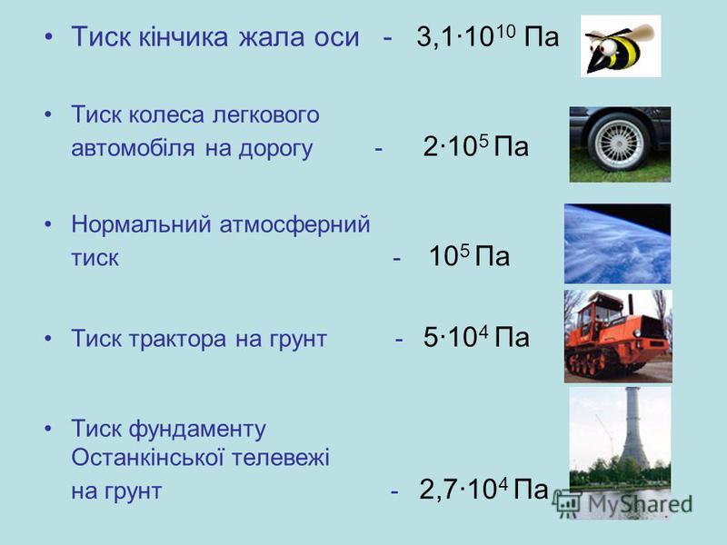 Тиск кінчика жала оси - 3,1·10 10 Па Тиск колеса легкового автомобіля на дорогу - 2·10 5 Па Нормальний атмосферний тиск - 10 5 Па Тиск трактора на грунт - 5·10 4 Па Тиск фундаменту Останкінської телевежі на грунт - 2,7·10 4 Па