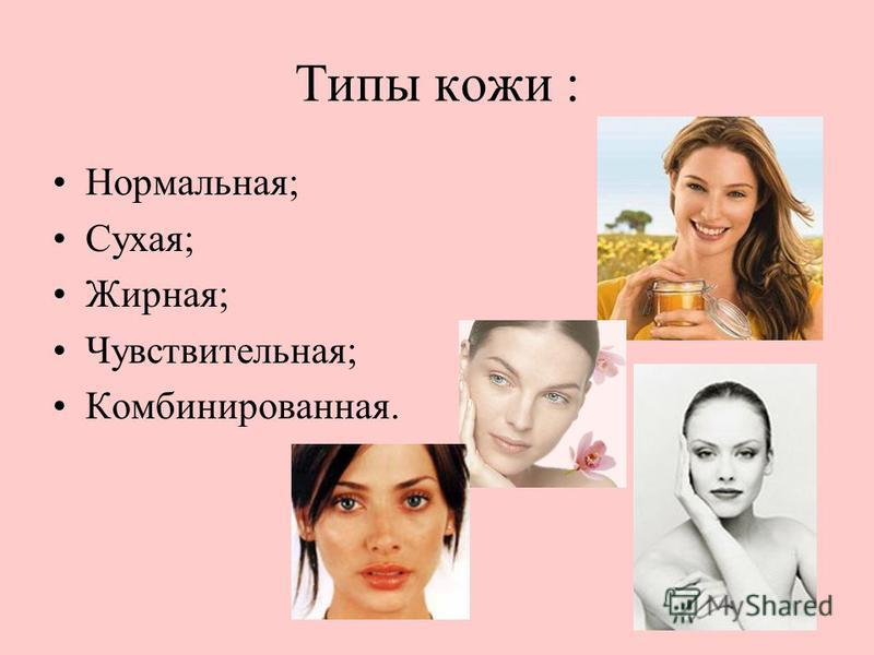 Типы кожи : Нормальная; Сухая; Жирная; Чувствительная; Комбинированная.