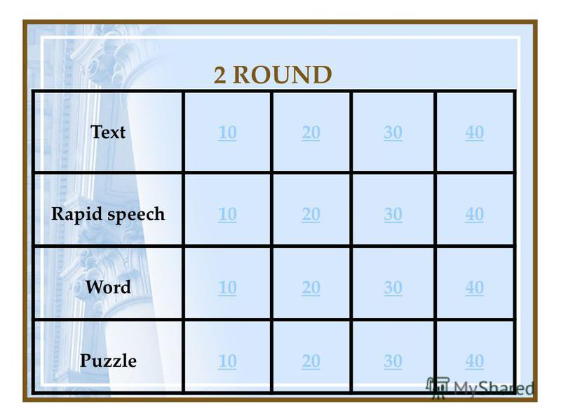 2 ROUND Text10203040 Rapid speech10203040 Word10203040 Puzzle10203040