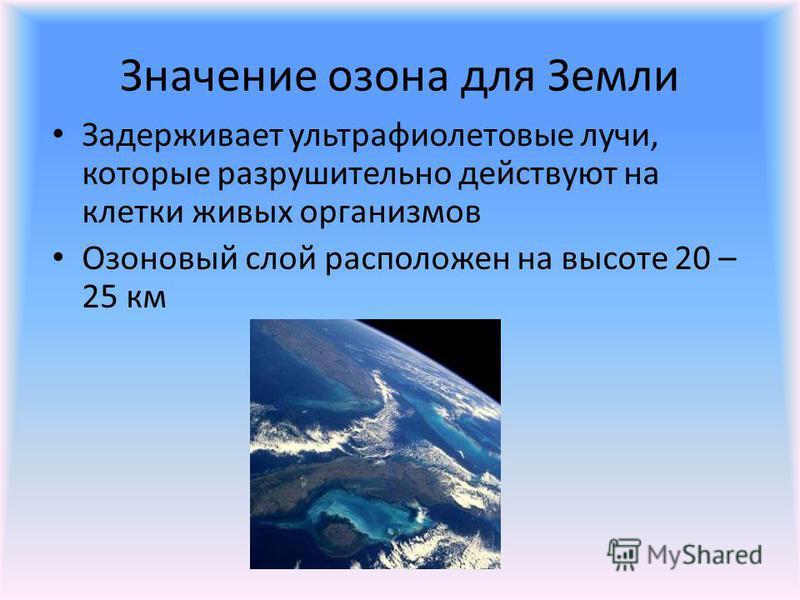 Значение озона для Земли Задерживает ультрафиолетовые лучи, которые разрушительно действуют на клетки живых организмов Озоновый слой расположен на высоте 20 – 25 км