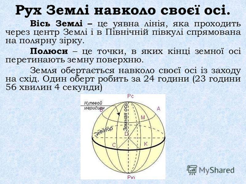 Рух Землі навколо своєї осі. Вісь Землі – це уявна лінія, яка проходить через центр Землі і в Північній півкулі спрямована на полярну зірку. Полюси – це точки, в яких кінці земної осі перетинають земну поверхню. Земля обертається навколо своєї осі із