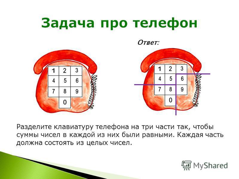 Разделите клавиатуру телефона на три части так, чтобы суммы чисел в каждой из них были равными. Каждая часть должна состоять из целых чисел. Ответ: