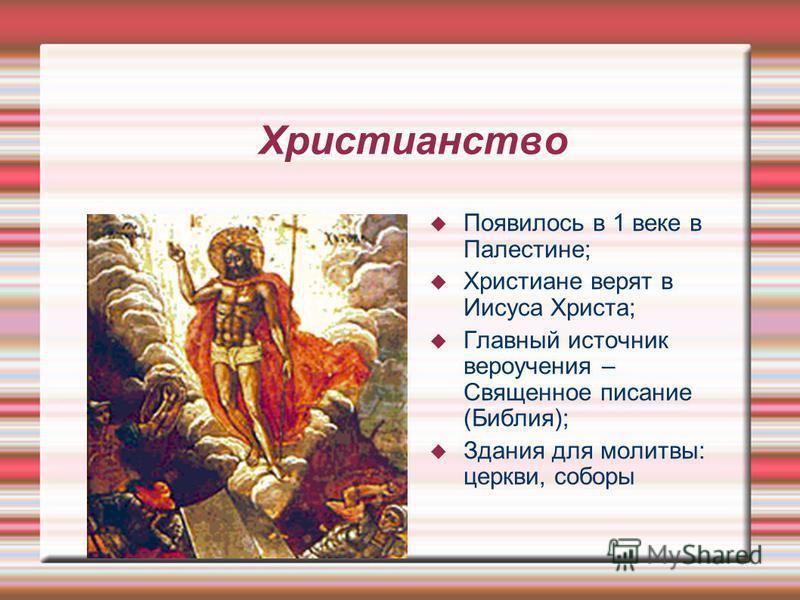 Христианство Появилось в 1 веке в Палестине; Христиане верят в Иисуса Христа; Главный источник вероучения – Священное писание (Библия); Здания для молитвы: церкви, соборы