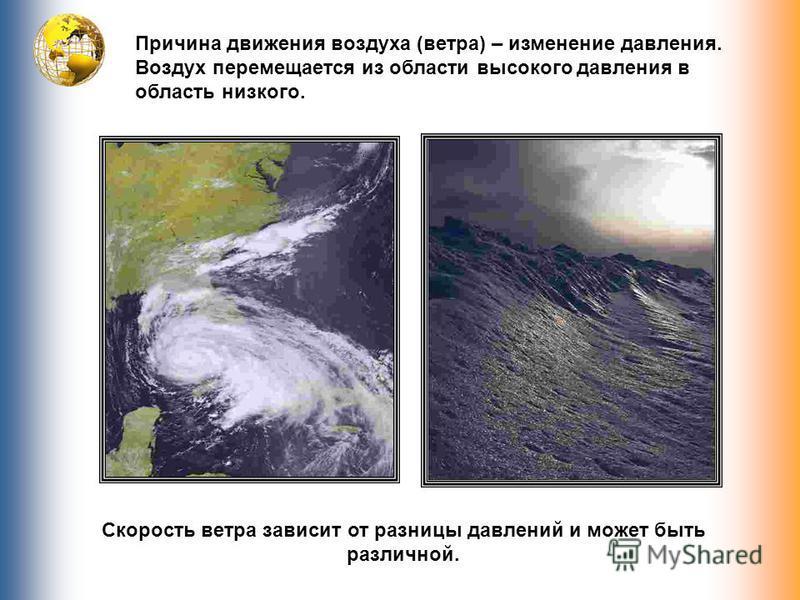 Причина движения воздуха (ветра) – изменение давления. Воздух перемещается из области высокого давления в область низкого. Скорость ветра зависит от разницы давлений и может быть различной.