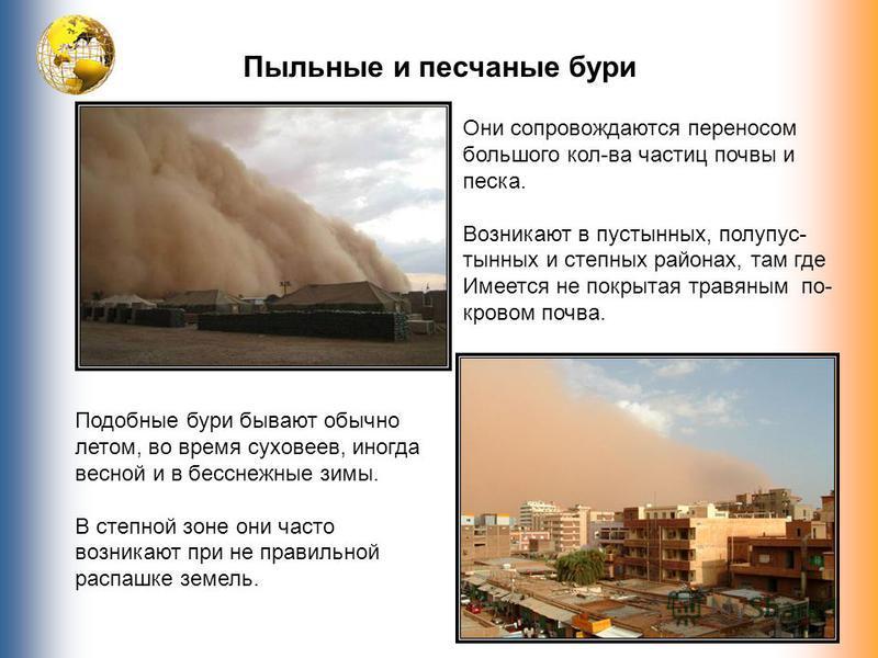 Пыльные, песчаные бури Пыльные и песчаные бури Они сопровождаются переносом большого кол-ва частиц почвы и песка. Возникают в пустынных, полупустынных и степных районах, там где Имеется не покрытая травяным по- кровом почва. Подобные бури бывают обыч