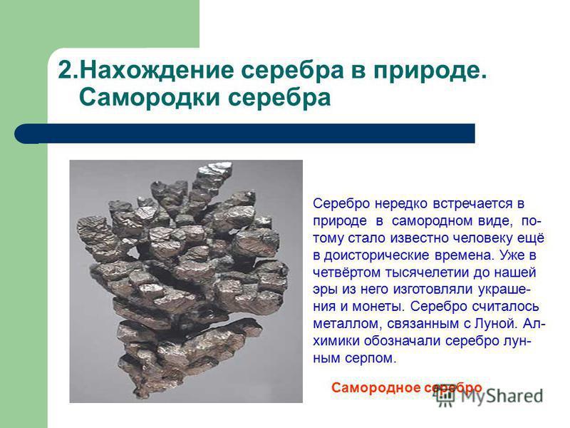 2. Нахождение серебра в природе. Самородки серебра Серебро нередко встречается в природе в самородном виде, по- тому стало известно человеку ещё в доисторические времена. Уже в четвёртом тысячелетии до нашей эры из него изготовляли украшения и монеты