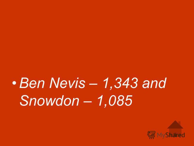 Ben Nevis – 1,343 and Snowdon – 1,085