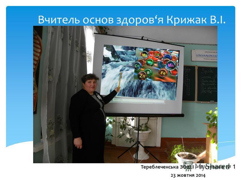 Вчитель основ здоровя Крижак В.І. Тереблеченська ЗОШ І – ІІІ ступенів 1 23 жовтня 2014