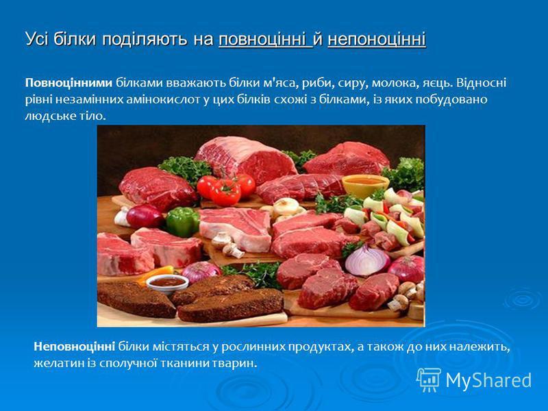 Усі білки поділяють на повноцінні й непоноцінні Повноцінними білками вважають білки м'яса, риби, сиру, молока, яєць. Відносні рівні незамінних амінокислот у цих білків схожі з білками, із яких побудовано людське тіло. Неповноцінні білки містяться у р