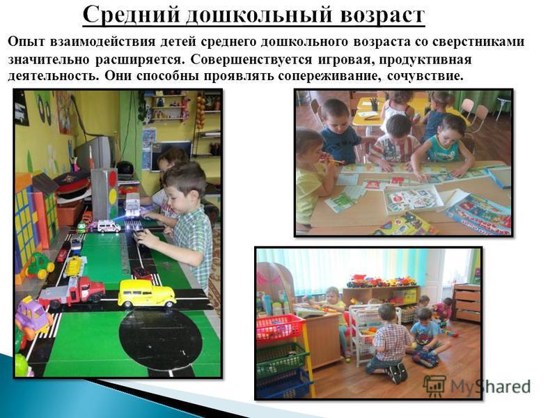 Опыт взаимодействия детей среднего дошкольного возраста со сверстниками значительно расширяется. Совершенствуется игровая, продуктивная деятельность. Они способны проявлять сопереживание, сочувствие.
