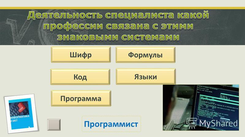 Шифр Код Программа Формулы Языки Программист