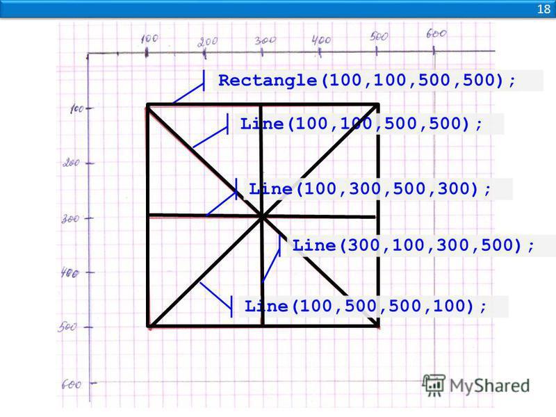 18 Rectangle(100,100,500,500); Line(100,100,500,500); Line(100,500,500,100); Line(100,300,500,300); Line(300,100,300,500);