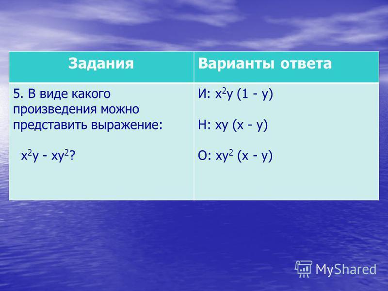 Задания Варианты ответа 5. В виде какого произведения можно представить выражение: х 2 у - ху 2 ? И: х 2 у (1 - у) Н: ху (х - у) О: ху 2 (х - у)