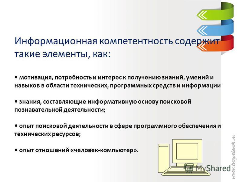Информационная компетентность содержит такие элементы, как: мотивация, потребность и интерес к получению знаний, умений и навыков в области технических, программных средств и информации знания, составляющие информативную основу поисковой познавательн