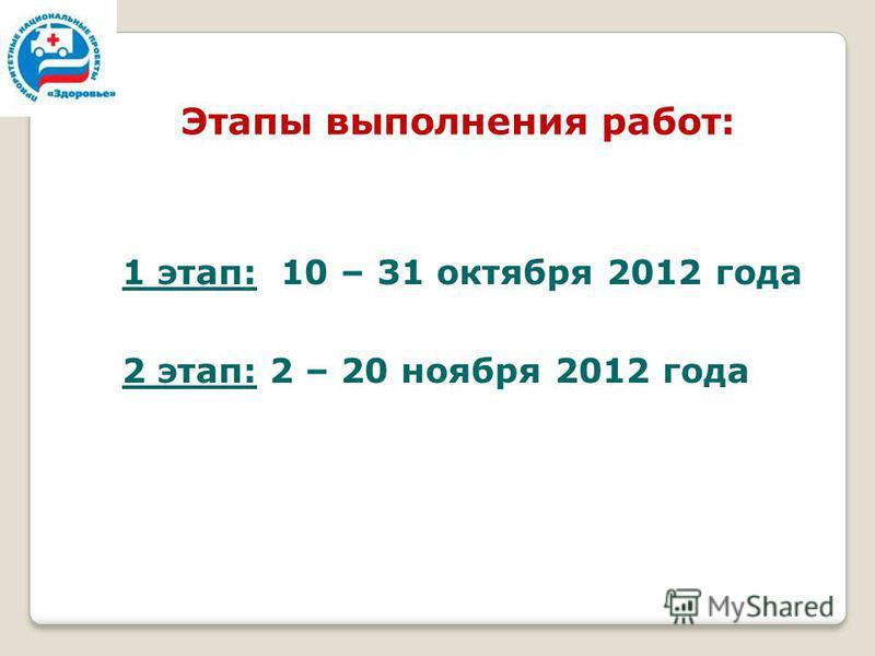 Этапы выполнения работ: 1 этап: 10 – 31 октября 2012 года 2 этап: 2 – 20 ноября 2012 года