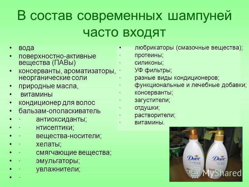 В состав современных шампуней часто входят вода поверхностно-активные вещества (ПАВы) консерванты, ароматизаторы, неорганические соли природные масла, витамины кондиционер для волос бальзам-ополаскиватель · антиоксиданты; · антисептики; · вещества-но