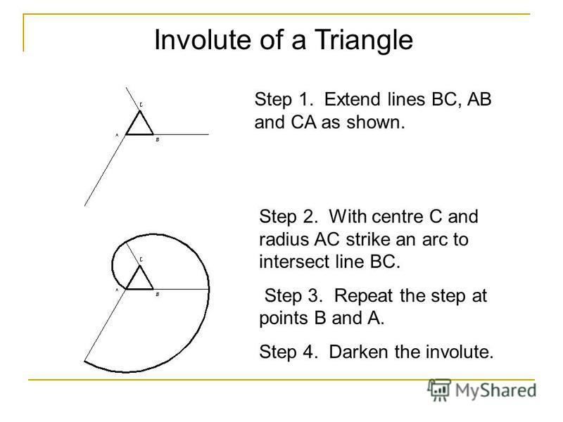 Involute of a Triangle Step 1. Extend lines BC, AB and CA as shown. Step 2. With centre C and radius AC strike an arc to intersect line BC. Step 3. Repeat the step at points B and A. Step 4. Darken the involute.