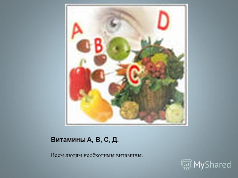 Витамины А, В, С, Д. Всем людям необходимы витамины.