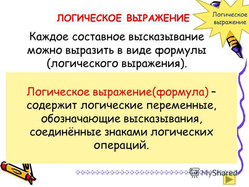 Каждое составное высказывание можно выразить в виде формулы (логического выражения). Логическое выражение(формула) – содержит логические переменные, обозначающие высказывания, соединённые знаками логических операций. ЛОГИЧЕСКОЕ ВЫРАЖЕНИЕ Логическое в