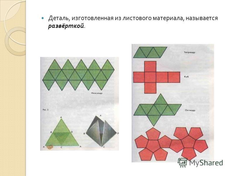 Деталь, изготовленная из листового материала, называется развёрткой.