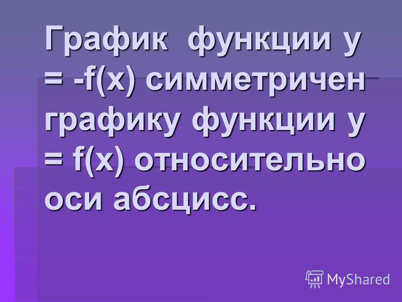График функции у = -f(x) симметричен графику функции у = f(x) относительно оси абсцисс.