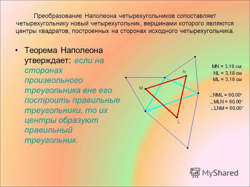 Преобразование Наполеона четырехугольников сопоставляет четырехугольнику новый четырехугольник, вершинами которого являются центры квадратов, построенных на сторонах исходного четырехугольника. Теорема Наполеона утверждает: если на сторонах произволь