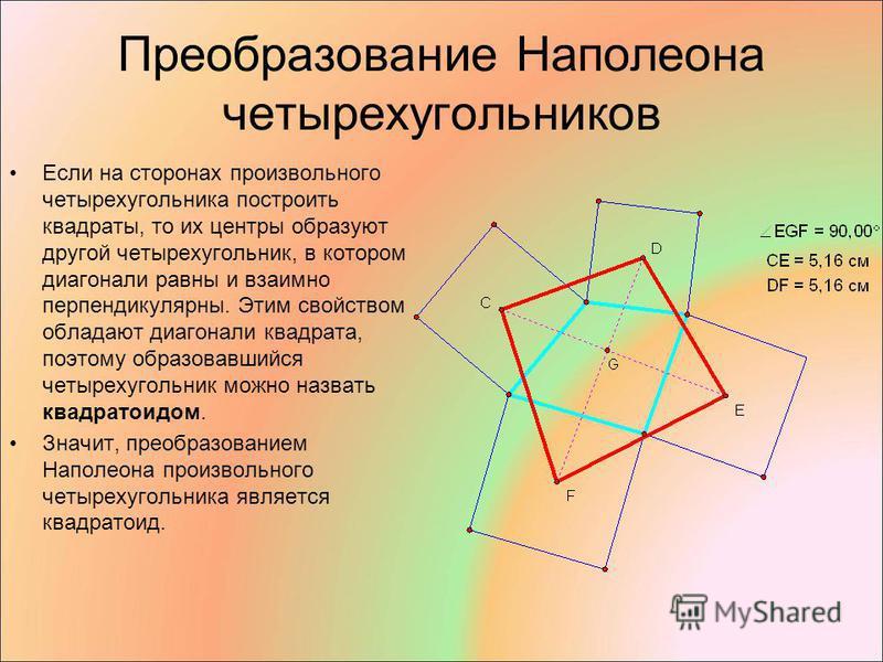Преобразование Наполеона четырехугольников Если на сторонах произвольного четырехугольника построить квадраты, то их центры образуют другой четырехугольник, в котором диагонали равны и взаимно перпендикулярны. Этим свойством обладают диагонали квадра