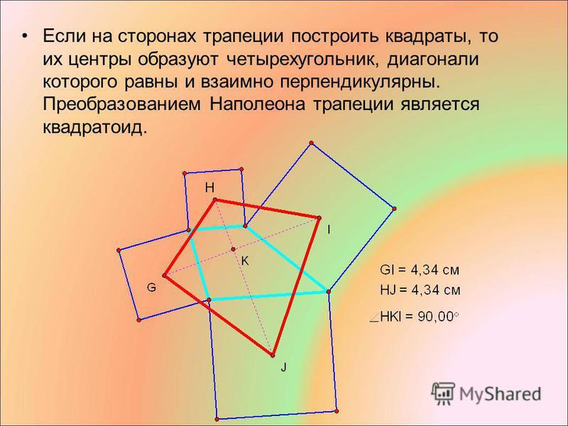 Если на сторонах трапеции построить квадраты, то их центры образуют четырехугольник, диагонали которого равны и взаимно перпендикулярны. Преобразованием Наполеона трапеции является квадратоид.