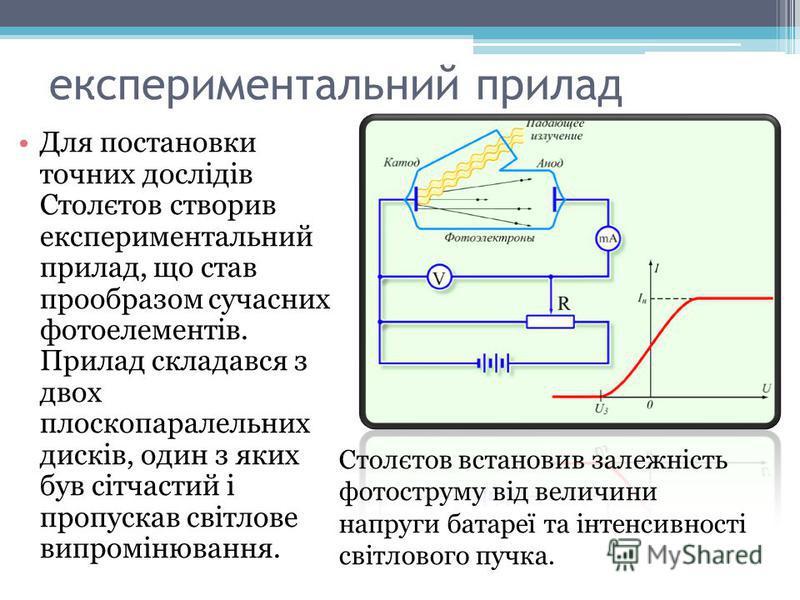 експериментальний прилад Для постановки точних дослідів Столєтов створив експериментальний прилад, що став прообразом сучасних фотоелементів. Прилад складався з двох плоскопаралельних дисків, один з яких був сітчастий і пропускав світлове випромінюва