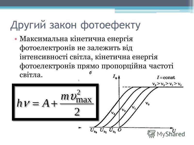 Другий закон фотоефекту Максимальна кінетична енергія фотоелектронів не залежить від інтенсивності світла, кінетична енергія фотоелектронів прямо пропорційна частоті світла.