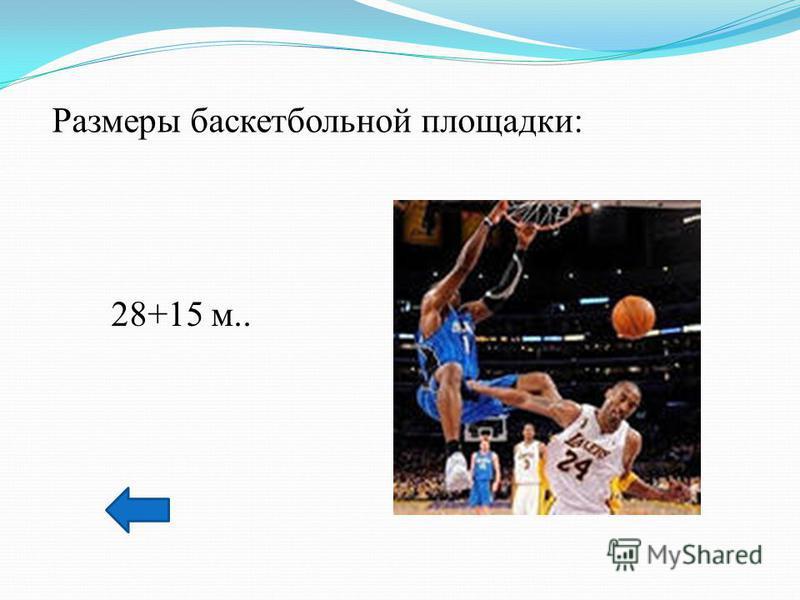 Размеры баскетбольной площадки: 28+15 м..