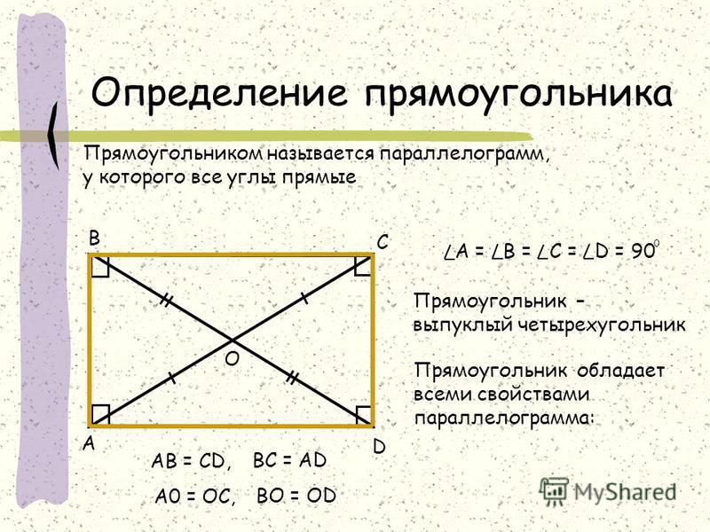 Определение прямоугольника Прямоугольником называется параллелограмм, у которого все углы прямые D А В С Прямоугольник – выпуклый четырехугольник A = B = С = D = 90 0 Прямоугольник обладает всеми свойствами параллелограмма: АВ = СD, BC = AD O А0 = OС