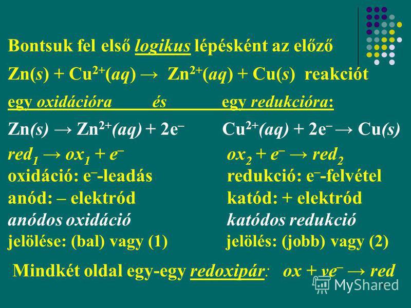 17 Bontsuk fel első logikus lépésként az előző Zn(s) + Cu 2+ (aq) Zn 2+ (aq) + Cu(s) reakciót egy oxidációra és egy redukcióra: Zn(s) Zn 2+ (aq) + 2e – Cu 2+ (aq) + 2e – Cu(s) red 1 ox 1 + e – ox 2 + e – red 2 oxidáció: e – -leadás redukció: e – -fel