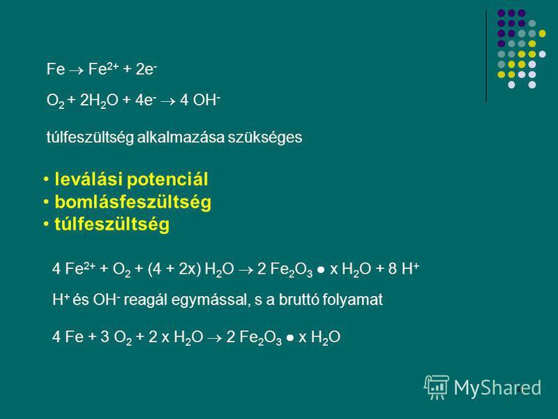 45 leválási potenciál bomlásfeszültség túlfeszültség Fe Fe 2+ + 2e - O 2 + 2H 2 O + 4e - 4 OH - túlfeszültség alkalmazása szükséges 4 Fe 2+ + O 2 + (4 + 2x) H 2 O 2 Fe 2 O 3 x H 2 O + 8 H + H + és OH - reagál egymással, s a bruttó folyamat 4 Fe + 3 O
