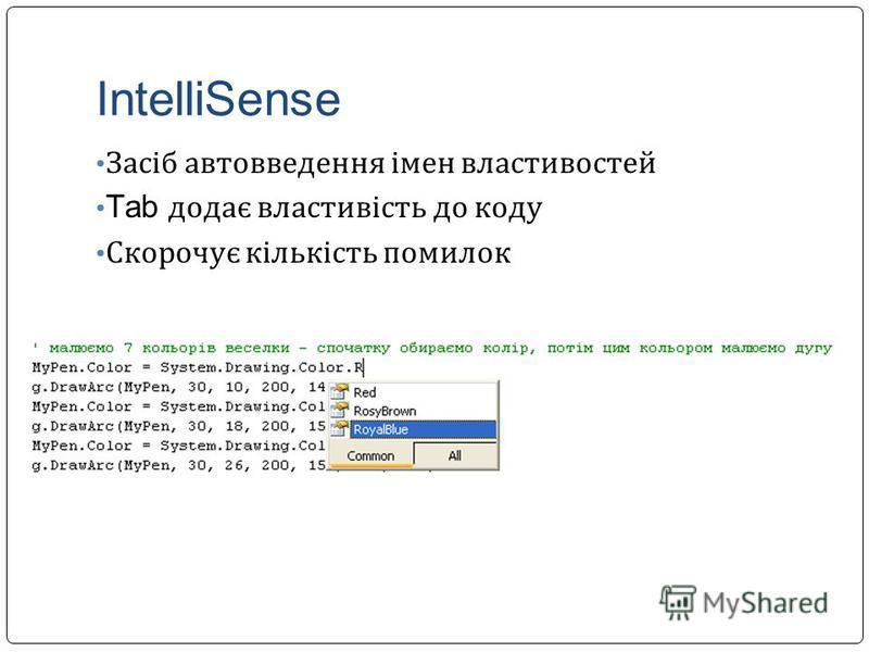 IntelliSense Засіб автовведення імен властивостей Tab додає властивість до коду Скорочує кількість помилок