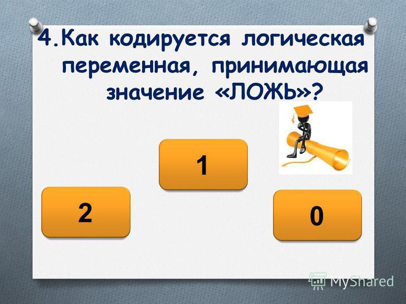 4. Как кодируется логическая переменная, принимающая значение «ЛОЖЬ»? 0 2 1