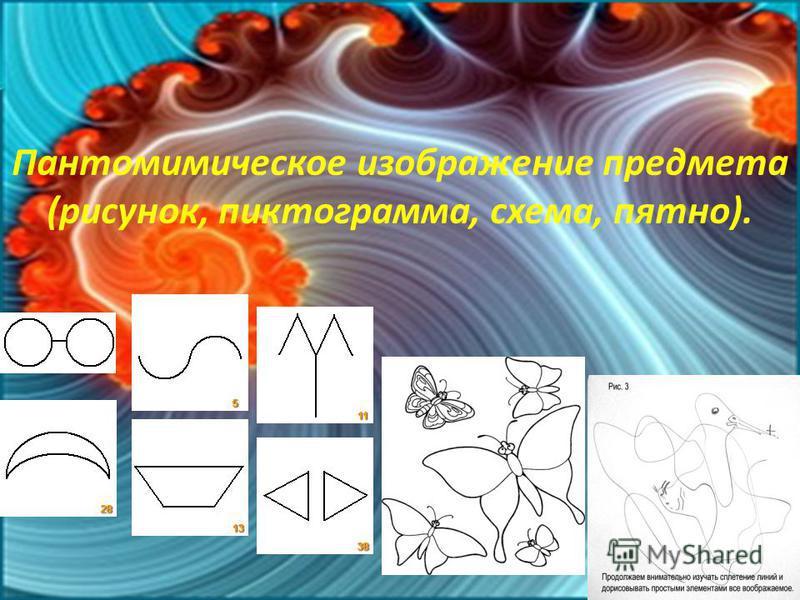 Пантомимическое изображение предмета (рисунок, пиктограмма, схема, пятно).